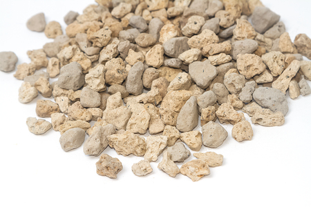 vesicular stone: pumice pebbles for gardening ( lightweight volcanic rock ) Stock Photo