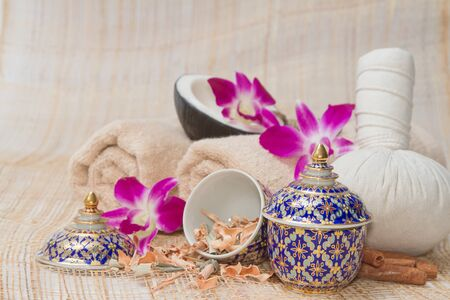 thai spa: Thai Spa and Massage, healthy and beautiful on bamboo background