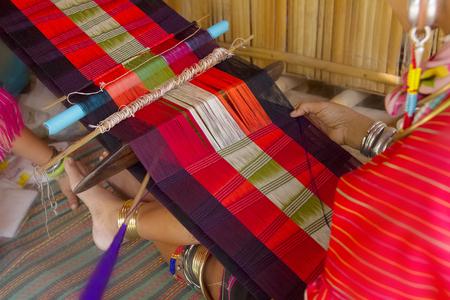 loom: Thailand traditional weaving at loom Stock Photo