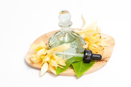thai spa: Champaka essential oil decoration for Thai spa setting Stock Photo