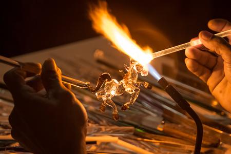 Handicraft from glass blowing horse shape