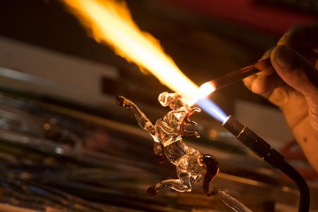 glassblower: Handicraft from glass blowing horse shape