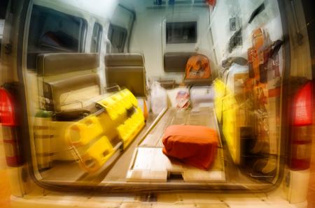 resuscitate: Inside of an ambulance ,blur motion Stock Photo