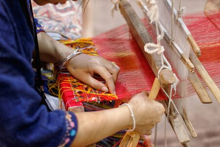 weaving: Weaving loom and the silk Stock Photo