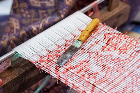weaving: Process of weaving, dyeing, weaving ancient Thailand as silk