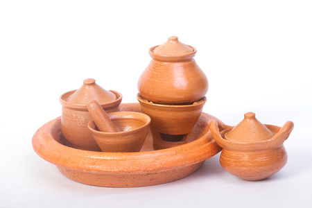 mini oven: Mini pot ,mortar and oven made by clay ,Thai handicraft souvenir