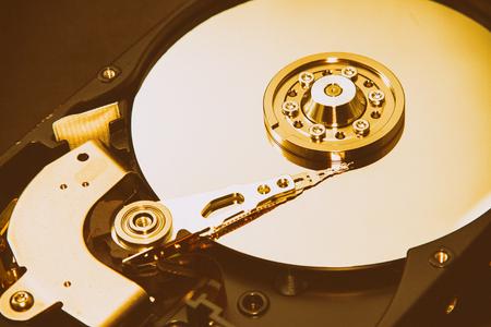 disks: Close up of hard disks internal mechanism hardware