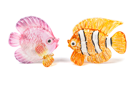 figurines: Two glass fish figurines on white background