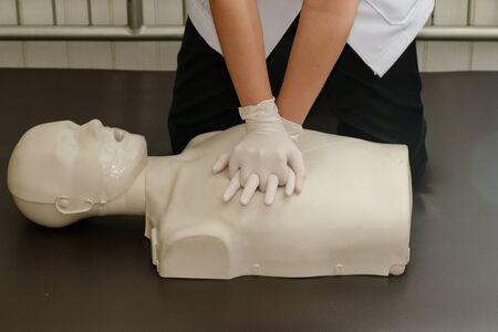 dummy: CPR Training,nurse resuscitated dummy Stock Photo