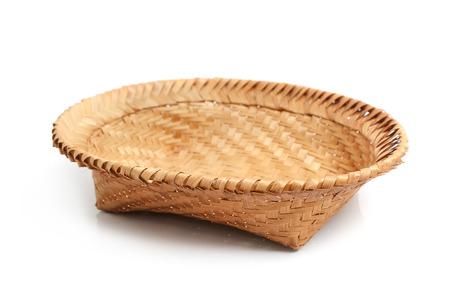 homeware: Wicker basket, bamboo basket on white background