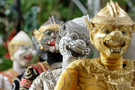 BANGKOK, THAILAND - OCTOBER 8: Thai traditional puppet play displayed openly for public at Klong Bang Loung on October 8, 2016 in Bangkok Thailand