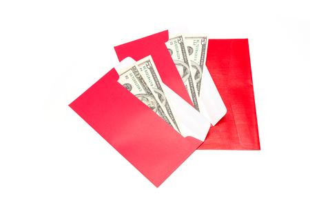 Dollaro USA banconote in rosso si sviluppano, il dono di nuovo anno cinese Archivio Fotografico - 67706032