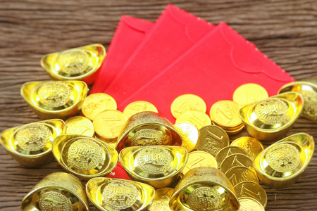 Chinese red envelope and gold ingots  (Yuan Bao) for Chinese new year