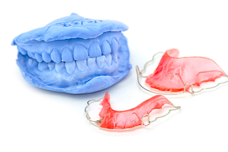upper and lower orthodontic retainer,dental braces Stock Photo