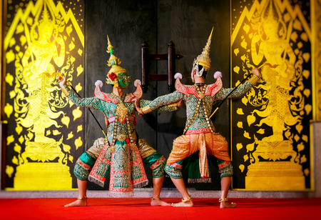 Khon is traditional dance drama art of Thai classical masked from Ramayana epic