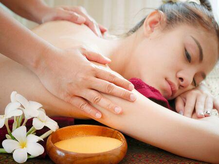Woman having spa body massage treatment in the spa salon,Massage and body care.
