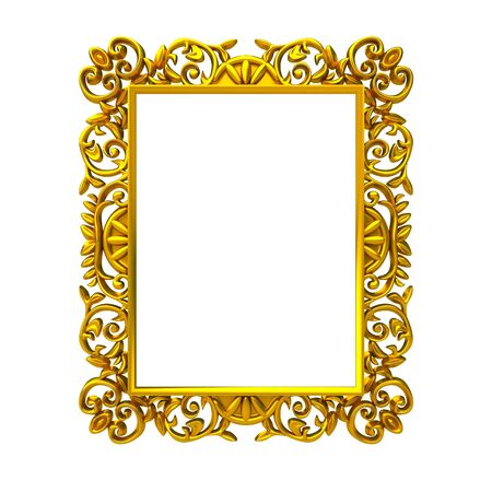 old mirror: Isolated decorative frame over white background Stock Photo
