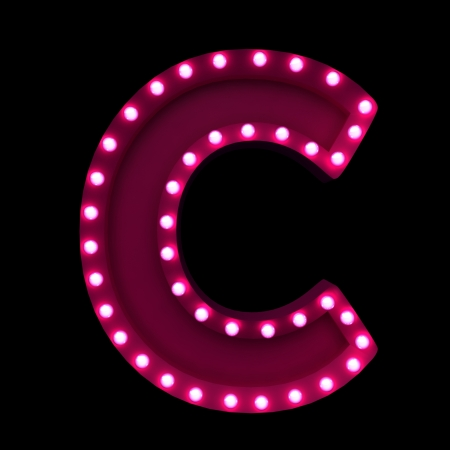 game show: letters with neon lights isolated on black background