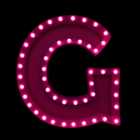 letters with neon lights isolated on black background
