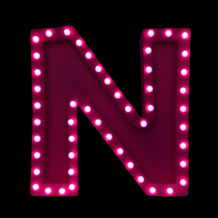 letter n: letters with neon lights isolated on black background