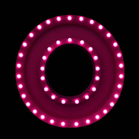 pink lamp: letters with neon lights isolated on black background
