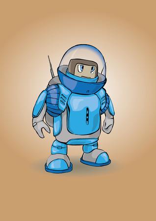 space invader: blue robot Illustration
