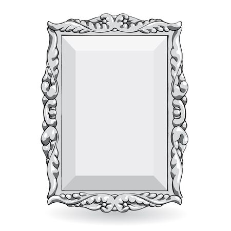 silver picture frame: silver vintage frame isolate on white background