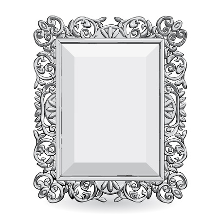 silver vintage frame isolate on white background vector - White Vintage Picture Frames