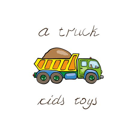 laden: Funny kids transport: laden truck. Cute hand drawn isolated element on a white background with two inscription around. Simple greeting card.