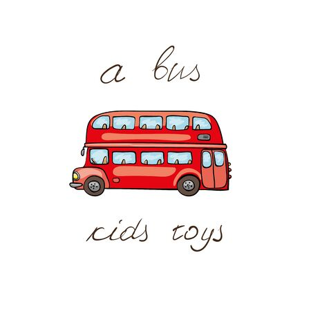 omnibus: Funny kids transport: London bus. Cute hand drawn isolated element on a white background with two inscription around. Simple greeting card.