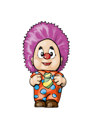 April fool`s day funny clown vector cartoon Ilustração