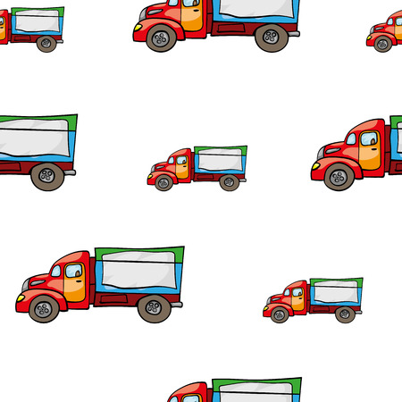 kids hand: Funny cute hand drawn kids toy transport. Baby bright cartoon truck vector seamless pattern on white background. Set of isolated elements. Chess grid order