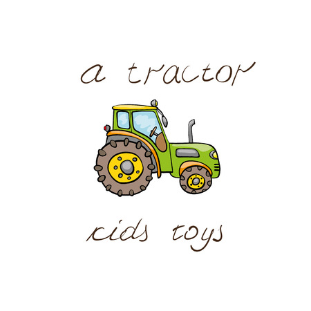 agrimotor: Funny kids transport: green  tractor. Cute hand drawn isolated element on a white background with two inscription around. Simple greeting card.