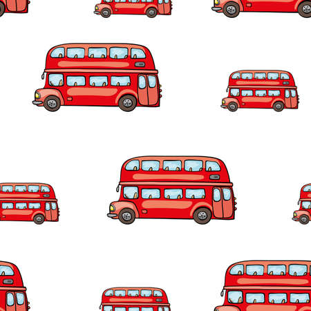 omnibus: Funny cute hand drawn kids toy transport. Baby bright cartoon bus vector seamless pattern on white background. Set of isolated elements. Chess grid order