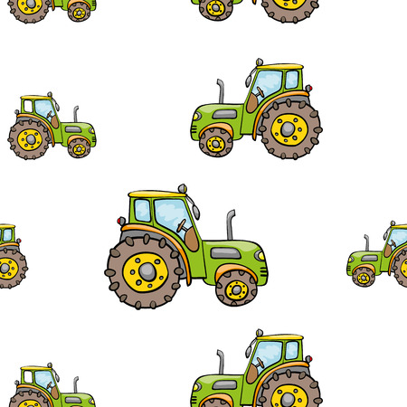 agrimotor: Funny cute hand drawn kids toy transport. Baby bright cartoon tractor vector seamless pattern on white background. Set of isolated elements. Chess grid order Illustration
