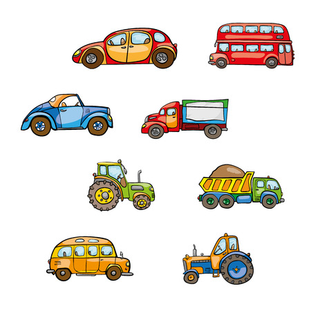 droll: Funny cute hand drawn kids toy transport. Baby bright cartoon tractor, bus, truck, car, droll wheels, route, funny drive, beep beep vector on white background. Set of isolated elements