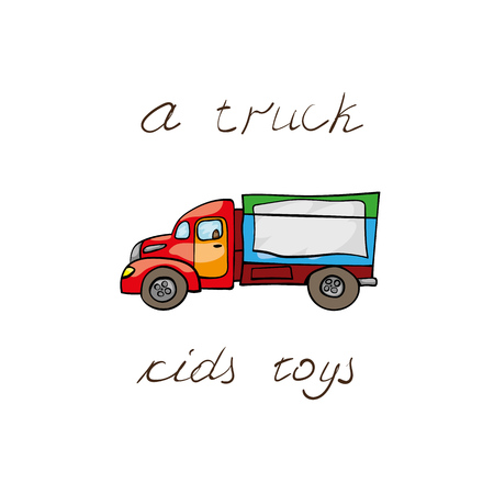big truck: Funny kids transport: big truck. Cute hand drawn isolated element on a white background with two inscription around. Simple greeting card.