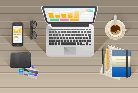 wooden work: Workplace. Office. Work in a team. Business school training. Objects lying on a wooden table. Web banner. Flat design. Stock Photo