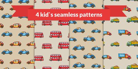 london bus: Child vector seamless pattern set. Hand drawn kids transport: retro car, red london bus, truck