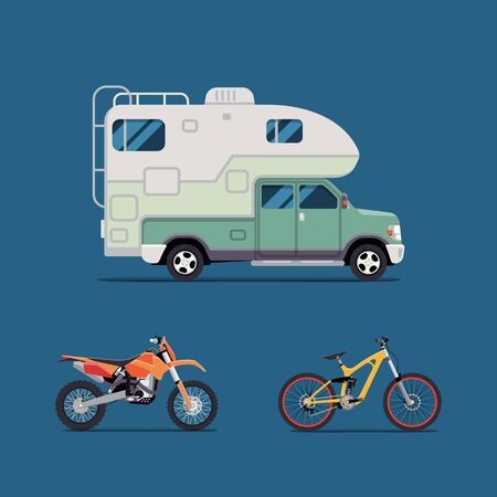 family van: Vector illustration flat. the best banner  for the travel agency and camping