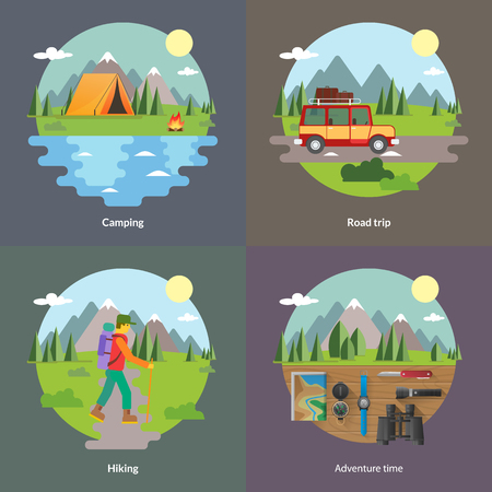 trip: Best trips and camping for unforgettable journey 4 flat square icons composition banner abstract isolated vector illustration