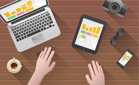 business activity: Businessmans desk with laptop, tablet,  smart phone and stationery. A business activity. Workplace. Office. Work in a team. Business school training. The web banner. Modern flat design.