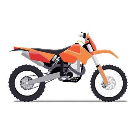 dirt bike: vector illustration of a flat sports enduro bike for extreme trips through the mountains. tech design on a white background.