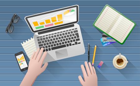 file clerks: Businessmans desk with laptop, tablet,  smart phone and stationery.