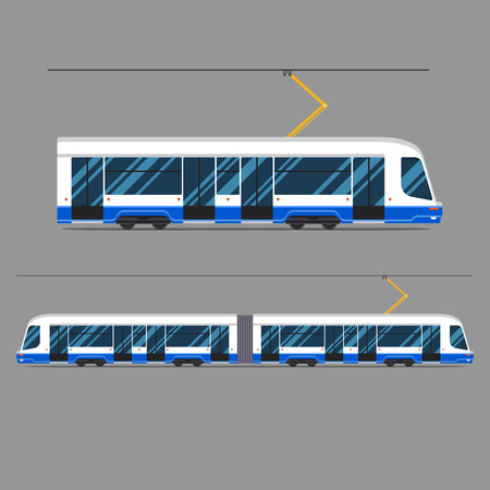 rapid: set of mass rapid transit urban vehicles Collection municipal transport tram in flat design. Ideal for infographic brochures, web and motion Illustration