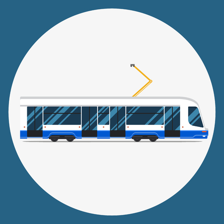 municipal: set of mass rapid transit urban vehicles Collection municipal transport tram in flat design. Ideal for infographic brochures, web and motion Illustration