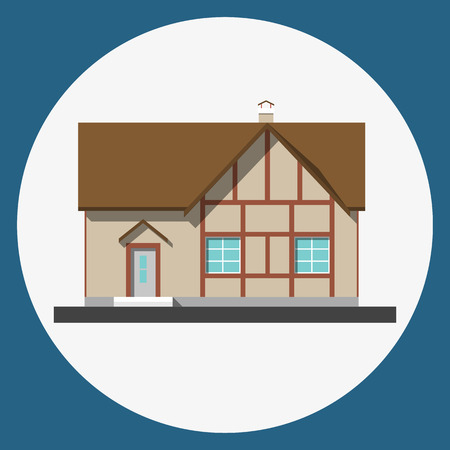 suburban home: home building flat icon,  Family suburban home.
