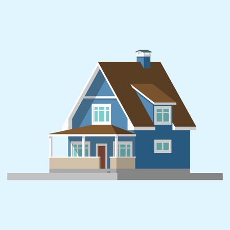 3d bungalow: isometric image of a private house flat illustration