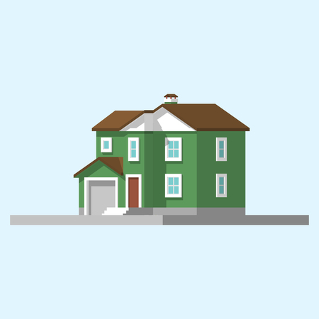 private: isometric image of a private house flat illustration