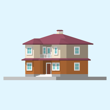 patio set: isometric image of a private house flat illustration